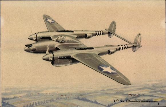Künstler Ak Amerikanisches Kampfflugzeug, Lockheed Lightning P 38