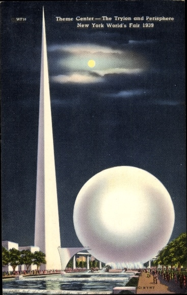 Mondschein Ak New York City USA, World's Fair 1939, Theme Center, The Tryion and Perisphere
