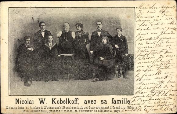 Ak Nicolai W. Kobelkoff avec sa famille, Schausteller