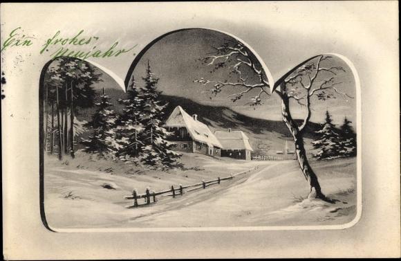 Künstler Passepartout Ak Glückwunsch Neujahr, Schneelandschaft