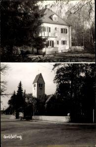 Ak Gräfelfing Oberbayern, Straßenpartie, Kriche, Villa