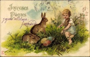 Ak Glückwunsch Ostern, Osterhasen, Ostereiernest, Kind