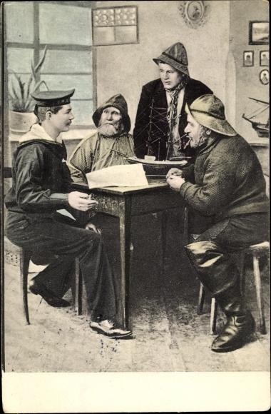 Ak Deutsche Matrosen am Tisch, Segelschiffmodell