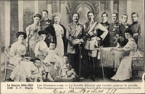 Ak Kaiser Wilhelm II., Kaiserin Auguste Viktoria, Kronprinz Wilhelm, Hohenzollern, I. WK