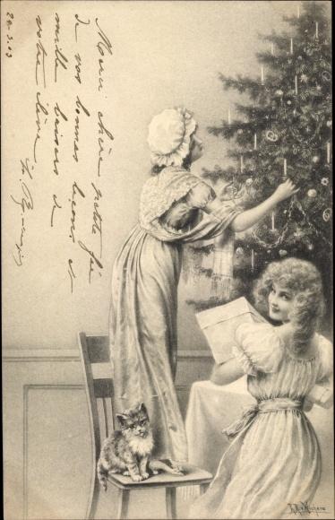 Künstler Ak v. Wichera, R. R., Frauen schmücken den Weihnachtsbaum, Katze