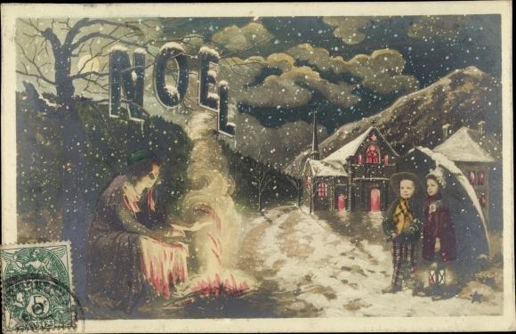 Ak Glückwunsch Weihnachten, Kinder, Frau, Lagerfeuer, Schneefall