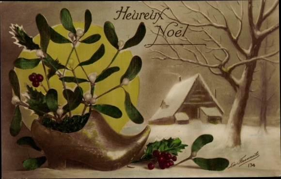 Ak Glückwunsch Weihnachten, Schuh, Mistelzweige, Haus