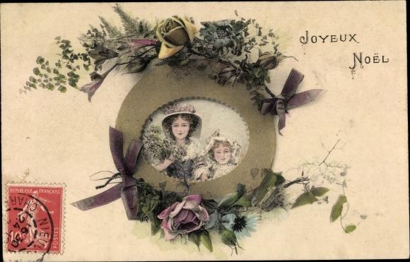 Passepartout Ak Glückwunsch Weihnachten, Zwei Mädchen, Blumen