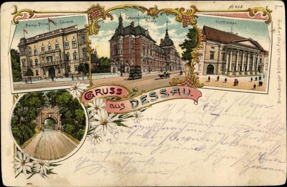 Litho Dessau in Sachsen Anhalt, Palais Prinz Eduard, Erbprinzliches Palais, Hoftheater