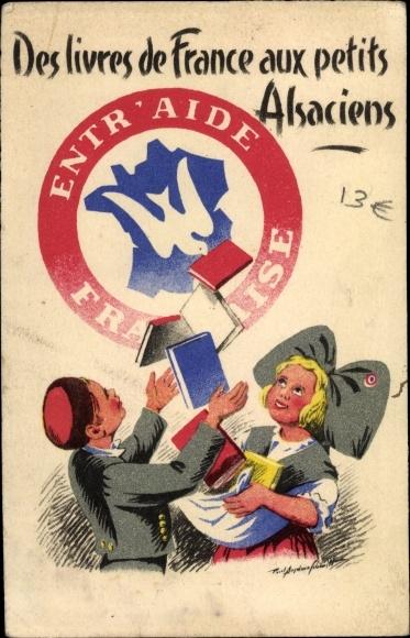 Künstler Ak Des livres de France aux petits Alsaciens