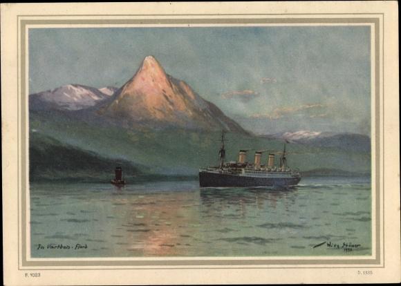 Künstler Ak Stöwer, Willy, Dampfer der HAPAG, Im Vartdals Fjord
