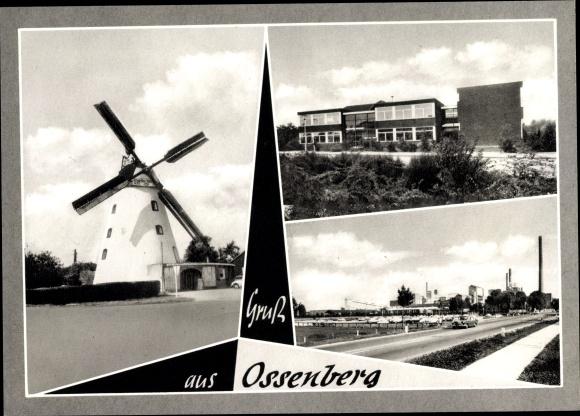 Ak Ossenberg Rheinberg am Niederrhein, Windmühle, Schule, Zeche