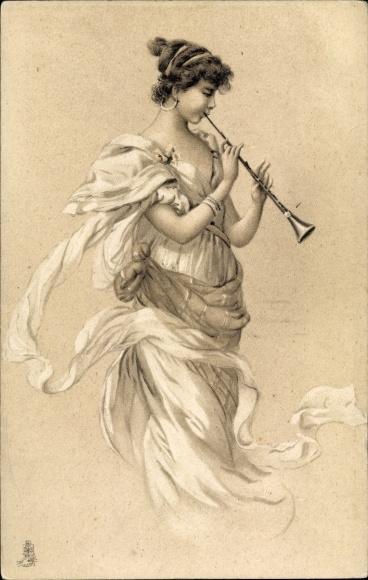 Künstler Ak Junge Frau spielt auf einer Flöte