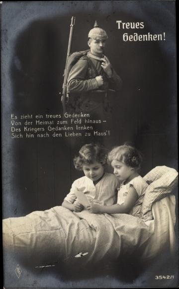 Ak Treues Gedenken, Kinder im Bett, Soldat in Uniform, PFB 3542 1