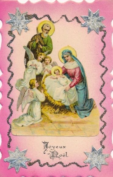 Glitzer Ak Glückwunsch Weihnachten, Engel, Christuskind, Maria, Josef