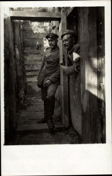 Foto Ak Deutsche Soldaten in Uniformen, Karl Zettl, Stellung Geier, Unterstand 1917