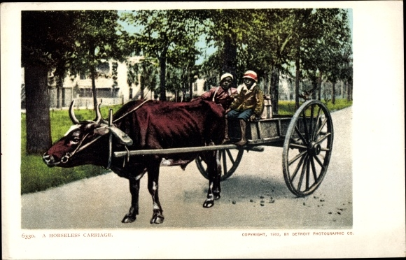 Ak USA, A Horseless Carriage, Rinderkutsche, Jungen, Südstaaten