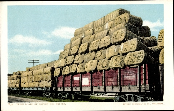 Ak USA, Train loads of cotton for export, Wolle, Güterzug