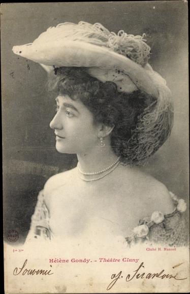 Ak Schauspielerin Helene Gondy, Theatre Cluny, Damenhut, Portrait