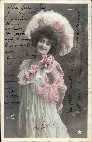 Ak Junge Frau in Damenhut, Portrait