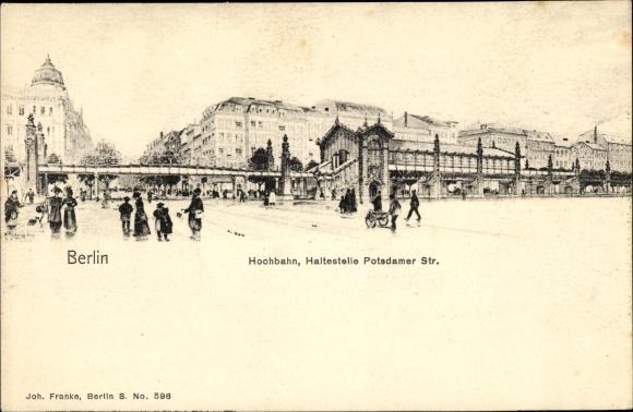Künstler Ak Berlin Schöneberg, Hochbahn, Potsdamer Straße, Bülowstraße