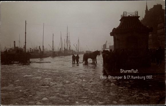 Ak Hamburg Mitte Altstadt, Sturmflut 1907, Hochwasser, Hafen