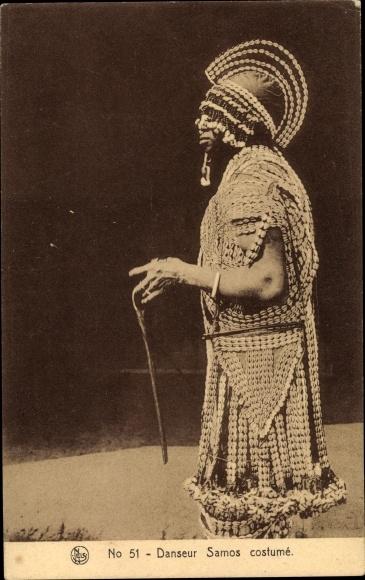 Ak Afrika, Danseur Damos costumé