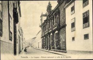 Ak Teneriffa Kanarische Inseln Spanien, La Laguna, Palacio episcopal y calle de San Agustin