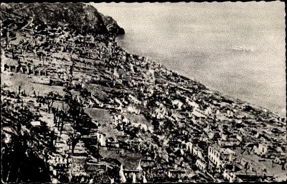Ak St. Pierre Martinique, Ruinen nach Vulkanausbruch 1902, Panorama