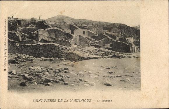 Ak St. Pierre Martinique, Ruinen nach Vulkanausbruch 1902, Le Figuier