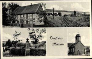 Ak Heissum Liebenburg in Niedersachsen, Geschäftshaus Bollmeier, Dorfidyll, Ehrenmal, Kirche