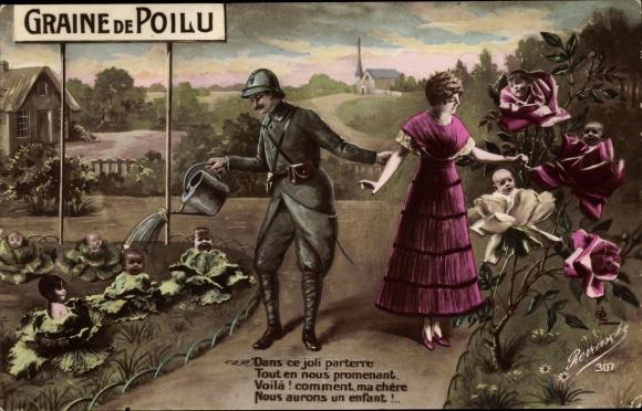Ak Graine de Poilu, Dans ce joli parterre, Französischer Soldat, Frau, Kinder, Garten