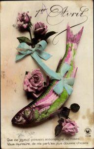 Ak 1. April, Que ce joyeux poisson accompagné de roses
