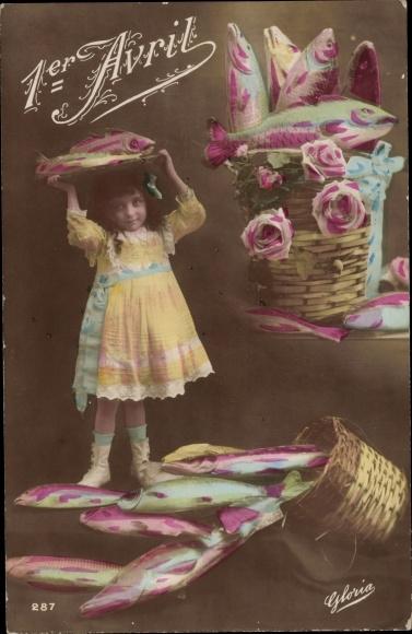 Ak 1. April, 1er Avril, Mädchen, Fische, Poissons