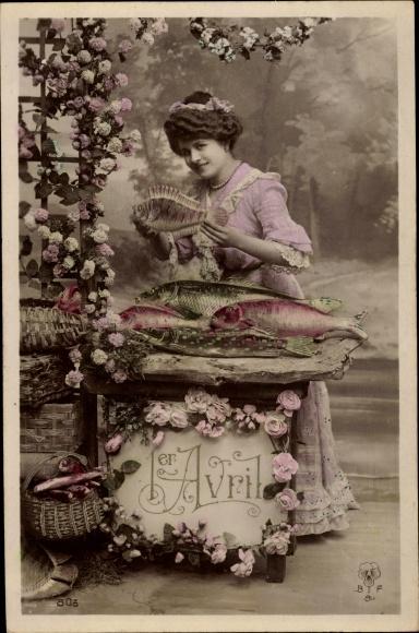 Ak 1. April, 1er Avril, Junge Frau, Poissons