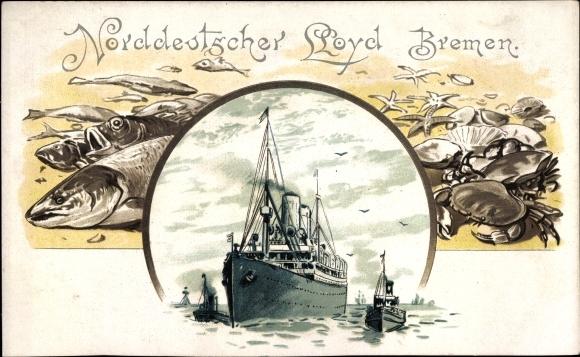Litho Norddeutscher Lloyd Bremen, Dampfer, Fische, Krebse