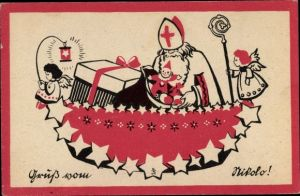 Künstler Ak Gruß vom Nikolo, Nikolaus mit Geschenken, Engel