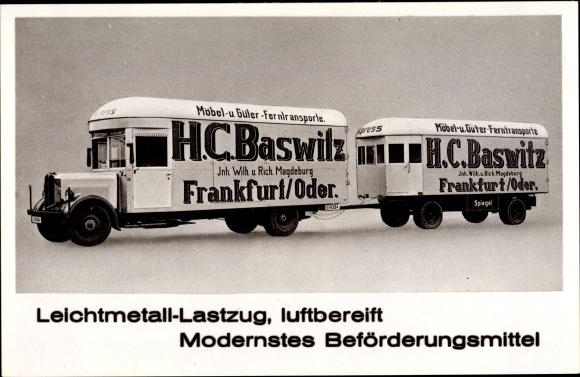 Ak Leichtmetall Lastzug, luftbereift, Möbeltransporte H.C. Baswitz aus Frankfurt Oder
