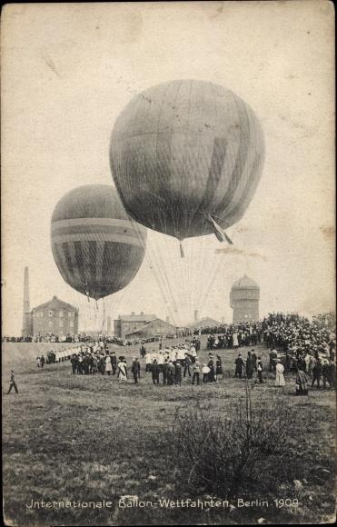 Ak Berlin, Internationale Ballonwettfahrten 1909, Fesselballons