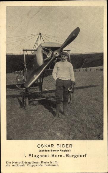 Ak Oskar Bider, 1. Flugpost Bern-Burgdorf, Berner Flugfeld