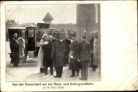 Ak Berlin, Kaserfahrt auf der Hoch- und Untergrundbahn am 16. März 1908