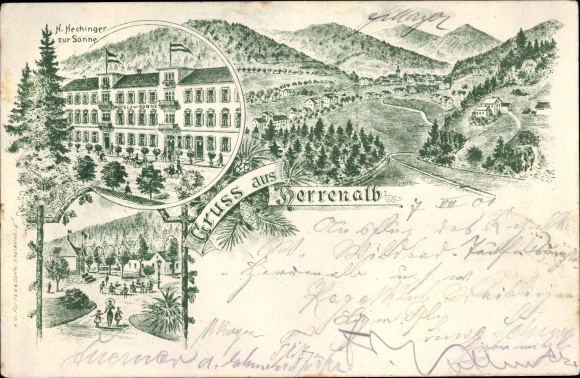 Litho Bad Herrenalb im Schwarzwald, Hotel zur Sonne