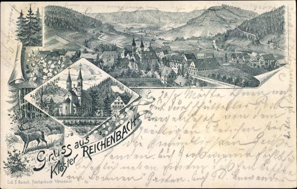 Litho Klosterreichenbach Baiersbronn Schwarzwald, Totalansicht, Kloster