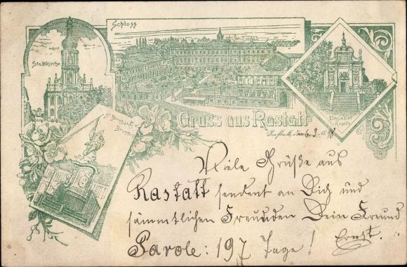 Litho Rastatt im Schwarzwald, Schloss, Stadtkirche, St. Bernhardt Brunnen, Einsiedlerkapelle
