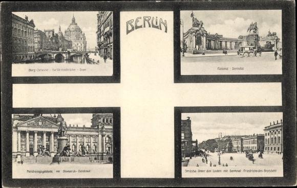 Ak Berlin, Kurfürstenbrücke, Dom, Nationaldenkmal, Reichstagsgebäude, Unter den Linden
