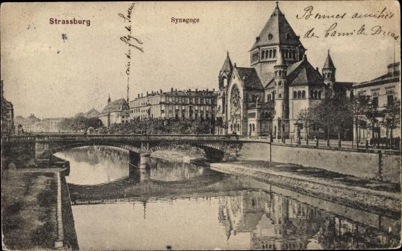 Ak Strasbourg Straßburg Elsass Bas Rhin, Synagoge