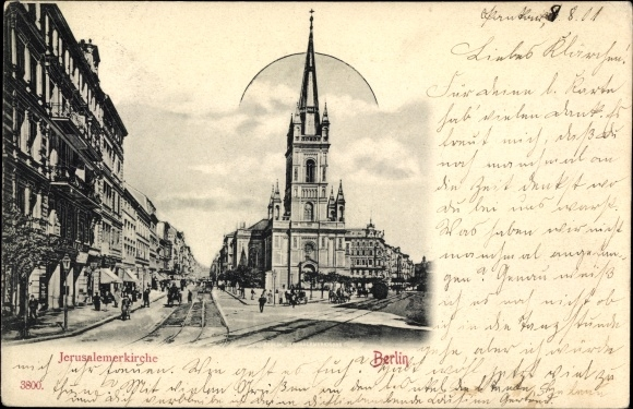 Ak Berlin Mite, Jerusalemer Kirche, Straßenpartie