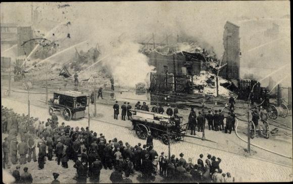 Ak Hamburg Mitte St. Pauli, Hafenstraße, Brand, Feuerwehr