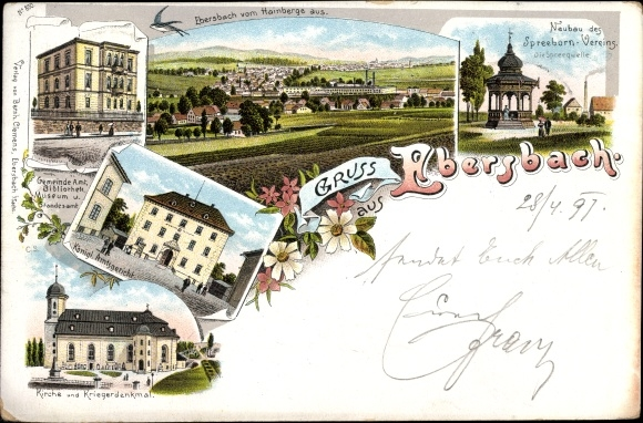Litho Ebersbach Neugersdorf, Spreebornverein, Amtsgericht, Kirche, Kriegerdenkmal