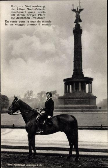 Ak Reiterin Helga v. Stolzenburg, Pferd, Siegessäule in Berlin